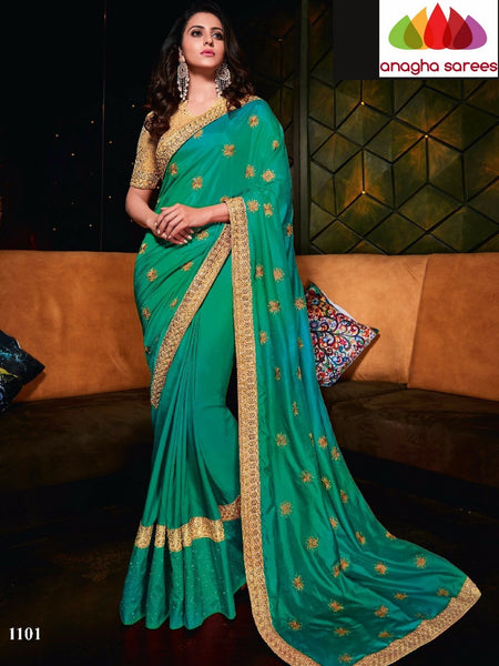 Designer Soft Silk Saree -  Green ANA_728