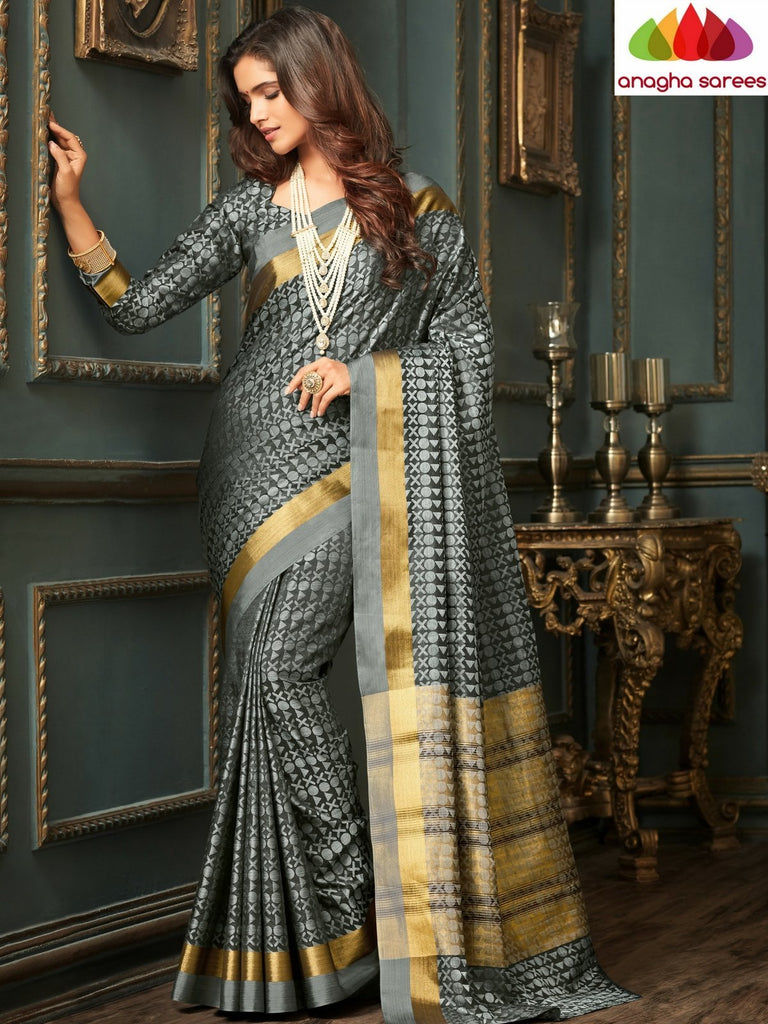 Designer Raw Silk Saree - Grey  ANA_C21 Anagha Sarees