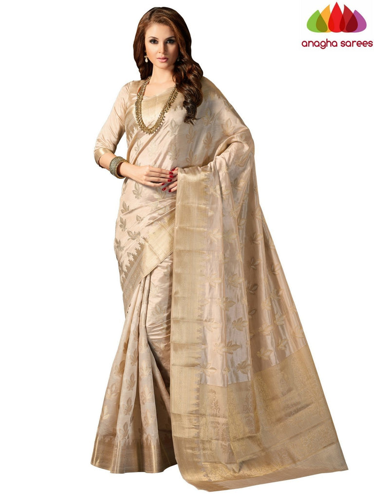 Designer Raw Silk Saree - Light Beige ANA_710 - Anagha Sarees
