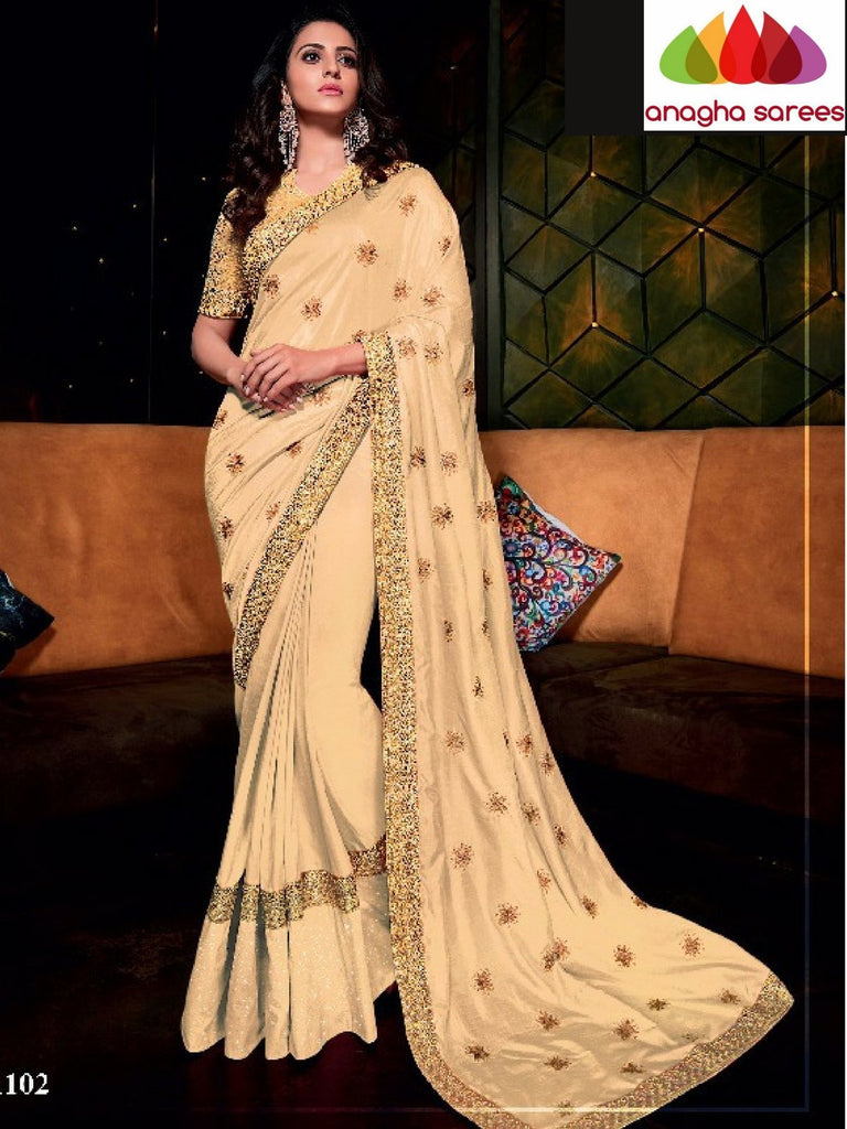Designer Soft Silk Saree -  Light Beige ANA_733 Anagha Sarees