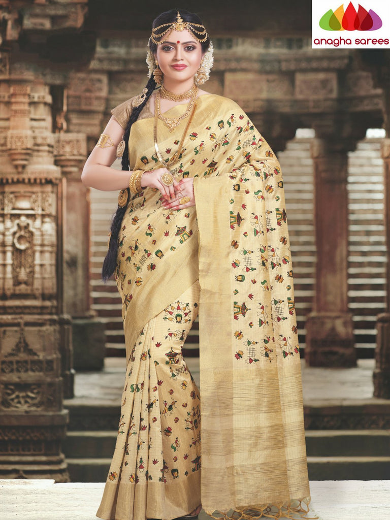 Designer Raw Silk Saree - Light Beige ANA_C24 Anagha Sarees