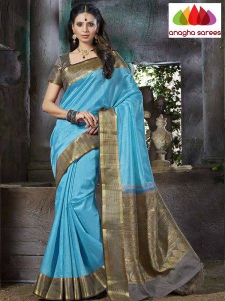 Designer Raw Silk Saree - Light Blue  ANA_659 - Anagha Sarees