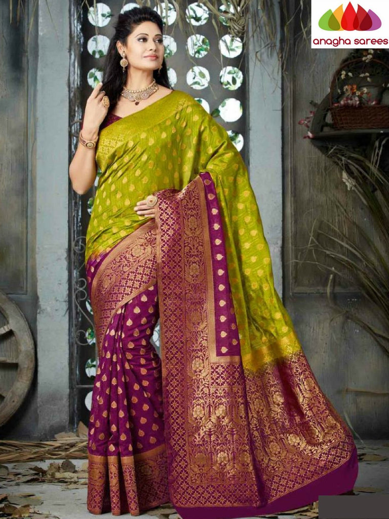 Designer Raw Silk Saree - Light Green/Magenta  ANA_C15 - Anagha Sarees