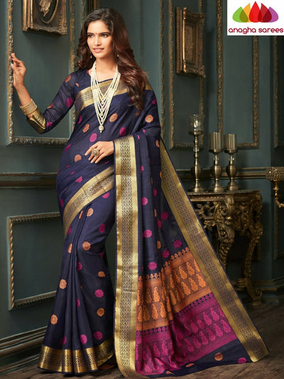 Designer Raw Silk Saree - Navy Blue ANA_C23 - Anagha Sarees