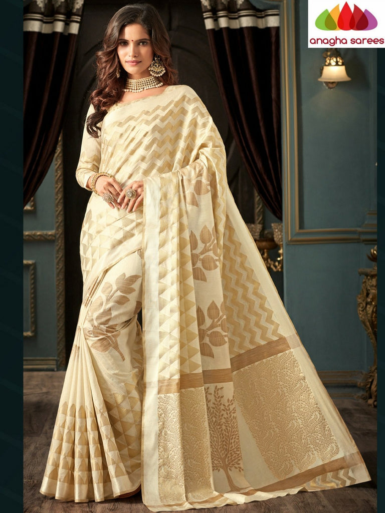 Designer Raw Silk Saree - Off White  ANA_C20 - Anagha Sarees