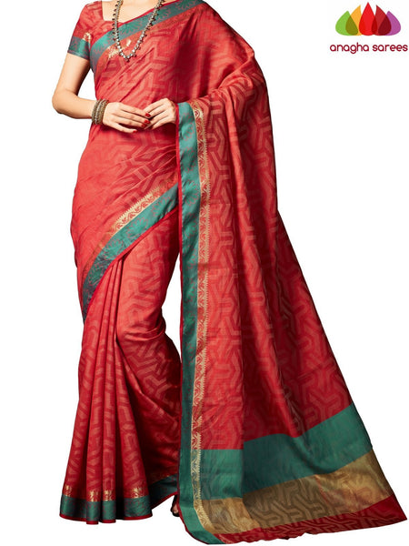 Designer Raw Silk Saree - Red ANA_703 - Anagha Sarees