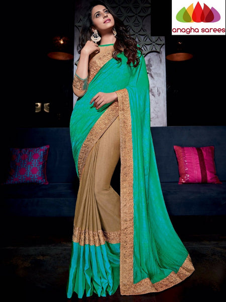 Designer Soft Silk Saree - Beige - Green ANA_717