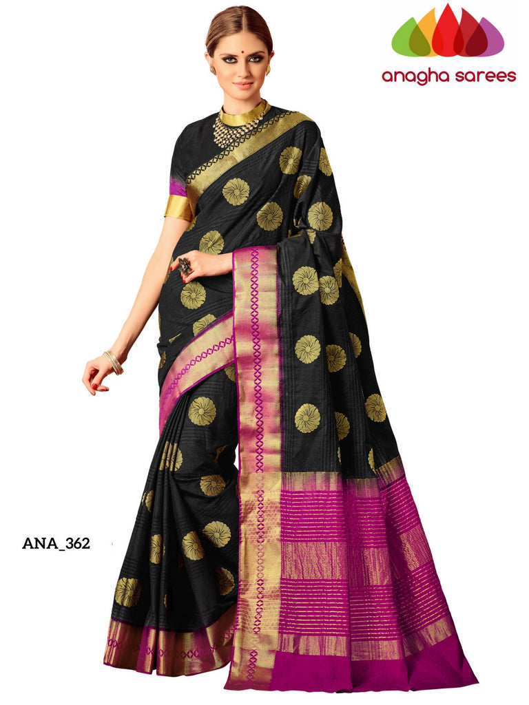 Embellished Raw Silk Designer Saree - Black ANA_362 Anagha Sarees