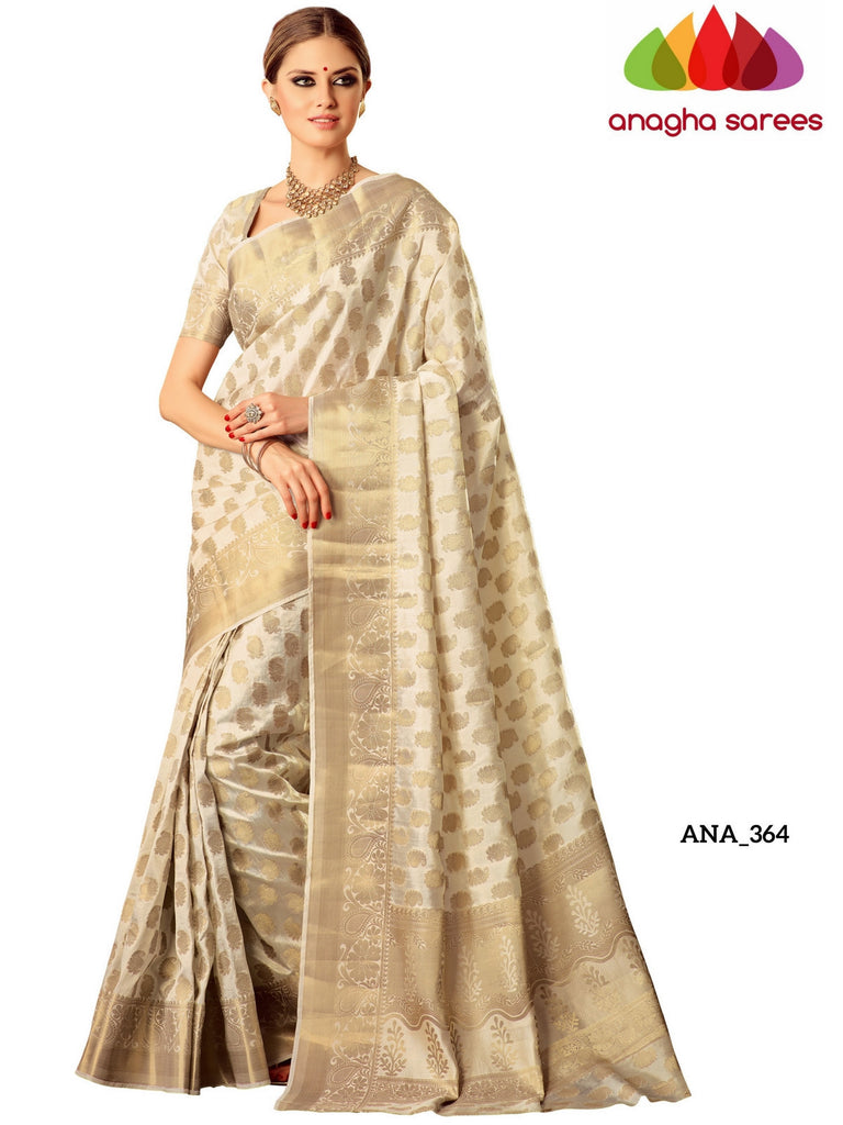 Embellished Raw Silk Designer Saree -  Cream ANA_364 Anagha Sarees