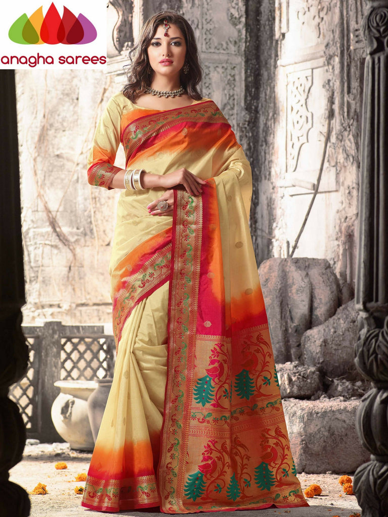 Embellished Raw Silk Designer Saree - Cream/Orange  ANA_303 Anagha Sarees