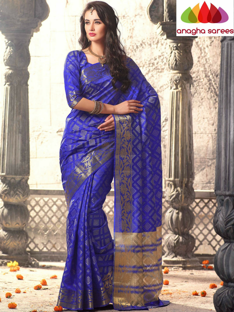 Embellished Raw Silk Designer Saree - Ink Blue  ANA_312 Anagha Sarees