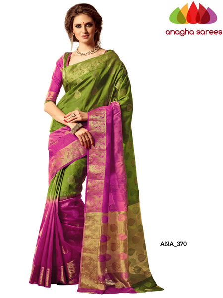 Anagha Sarees Raw Silk Saree Embellished Raw Silk Designer Saree - Light Green/Pink ANA_370