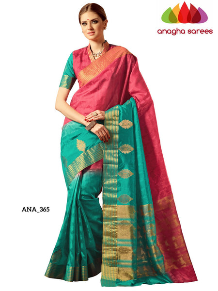 Anagha Sarees Raw Silk Saree Embellished Raw Silk Designer Saree - Pink/Sea Green ANA_365