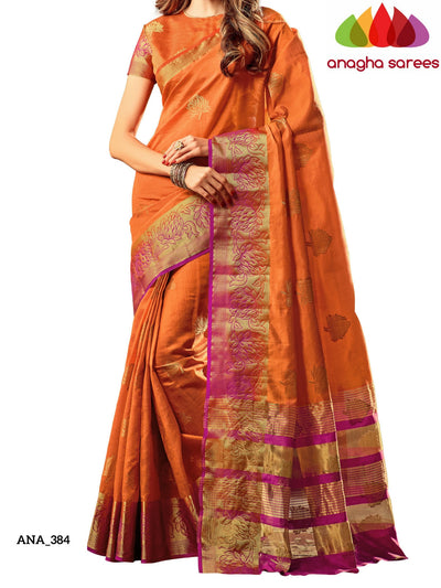 Embellished Raw Silk Designer Saree - Rust Orange ANA_384 - Anagha Sarees