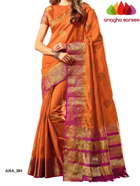 Anagha Sarees Raw Silk Saree Embellished Raw Silk Designer Saree - Rust Orange ANA_384