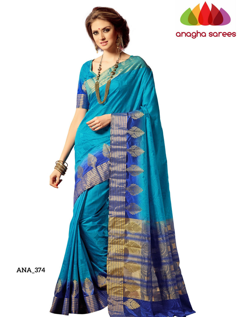 Embellished Raw Silk Designer Saree - Turquoise Blue  ANA_374 Anagha Sarees