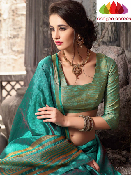 Anagha Sarees Raw Silk Saree Raw Silk Designer Saree - Bluish Green  ANA_320