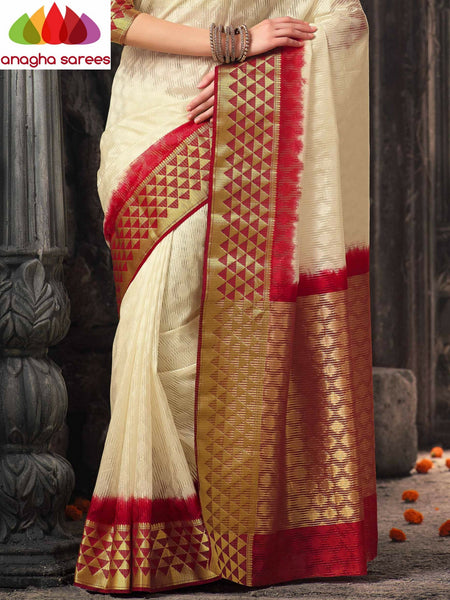 Anagha Sarees Raw Silk Saree Raw Silk Designer Saree - Cream/Maroon  ANA_315
