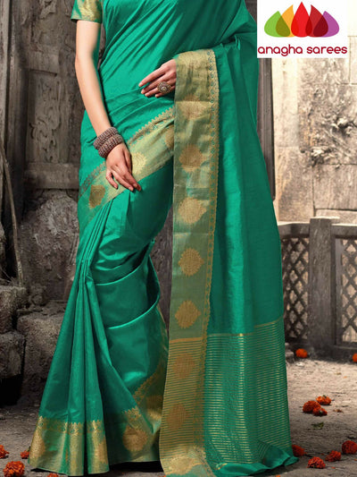 Raw Silk Designer Saree - Light Green  ANA_321 - Anagha Sarees