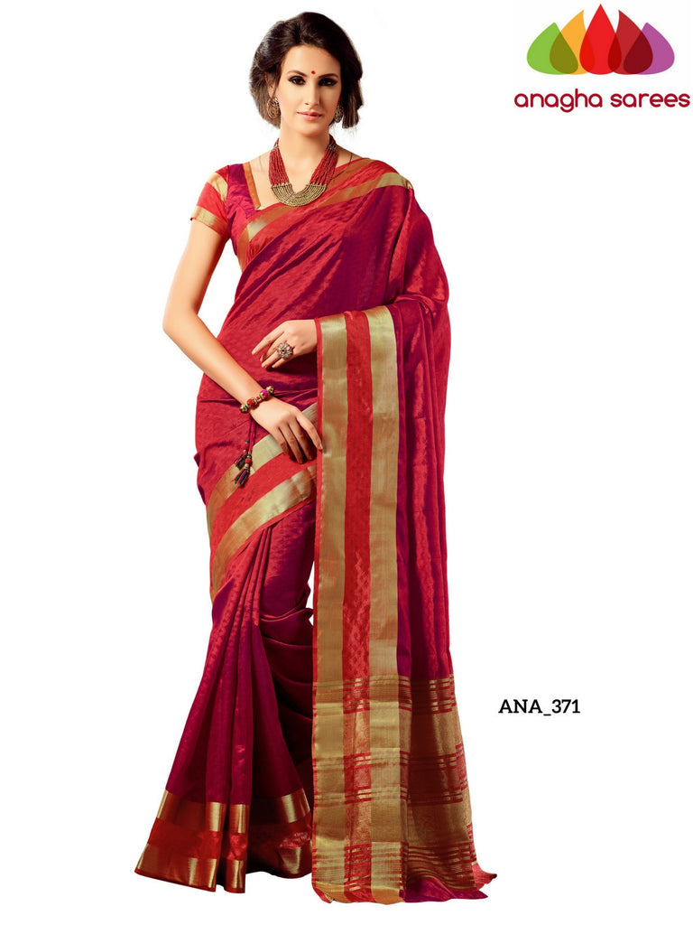 Raw Silk Designer Saree - Red ANA_371 Anagha Sarees