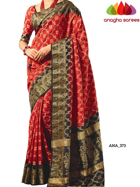 Anagha Sarees Raw Silk Saree Raw Silk Designer Saree - Red/Black ANA_373