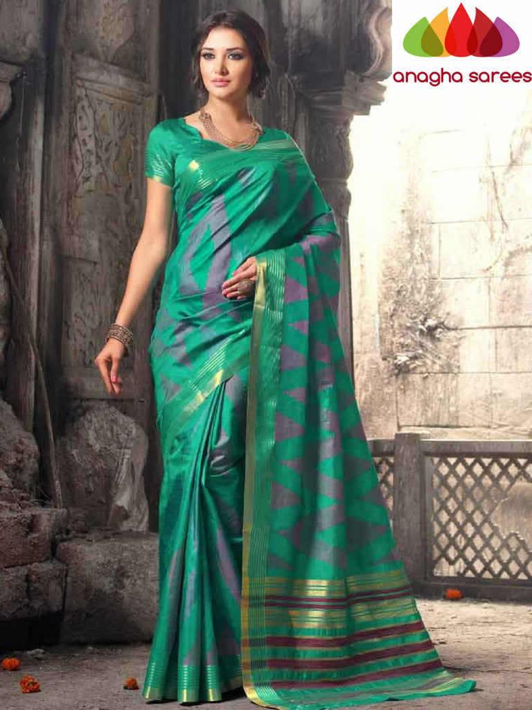 Raw Silk Designer Saree - Sea Green  ANA_310 Anagha Sarees