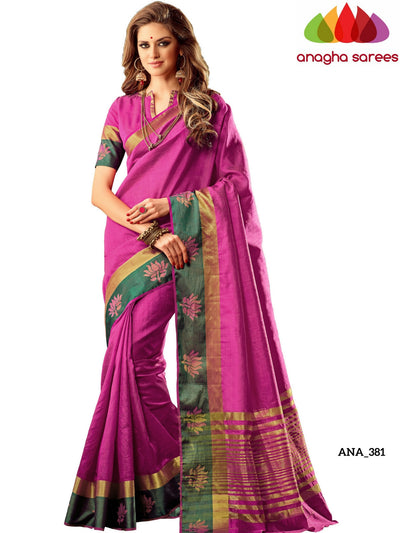 Anagha Sarees Raw Silk Saree Raw Silk Designer Saree - Zari/Woven Border - Magenta ANA_381