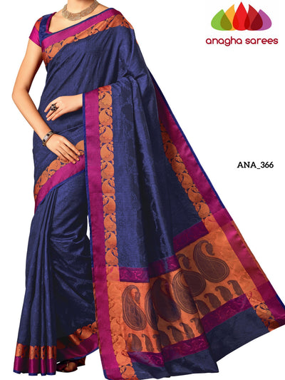 Woven Raw Silk Designer Saree - Dark Blue ANA_366 - Anagha Sarees