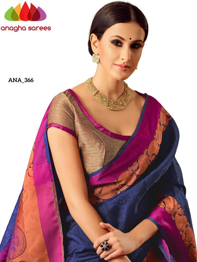 Anagha Sarees Raw Silk Saree Woven Raw Silk Designer Saree - Dark Blue ANA_366
