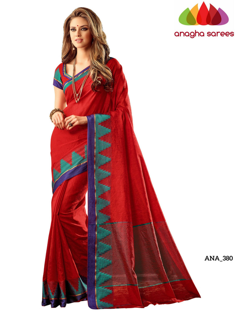 Woven Raw Silk Designer Saree - Red ANA_380 Anagha Sarees