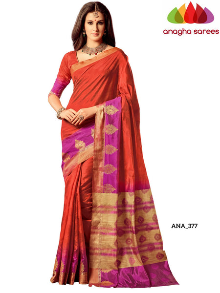 Anagha Sarees Raw Silk Saree Woven Raw Silk Designer Saree - Rust/Magenta ANA_377