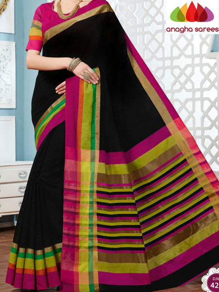 Anagha Sarees Rich Cotton Saree Rich Cotton Saree - Black/Multicolor ANA_279