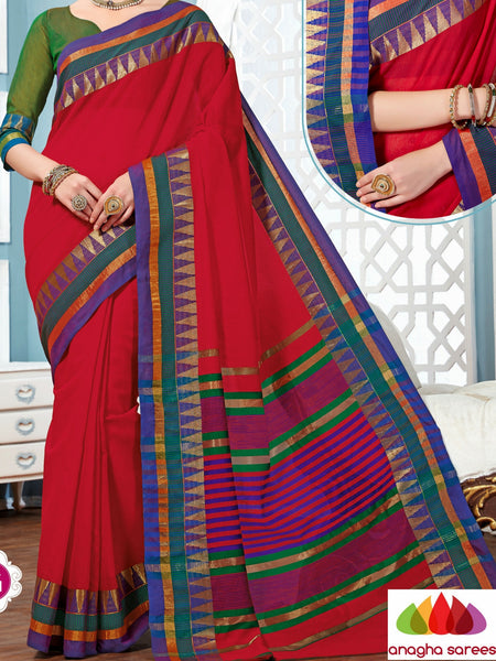 Anagha Sarees Rich Cotton Saree Rich Cotton Saree - Cherry Red ANA_282