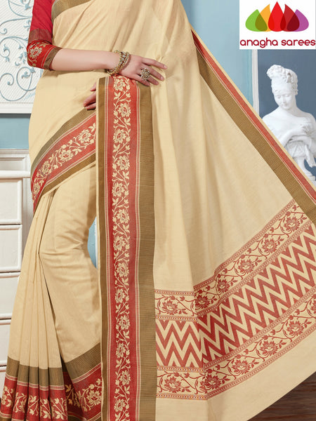 Anagha Sarees Rich Cotton Saree Rich Cotton Saree - Cream/Red  ANA_270