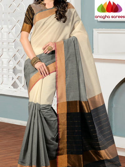 Rich Cotton Saree - Off White/Black ANA_277 - Anagha Sarees