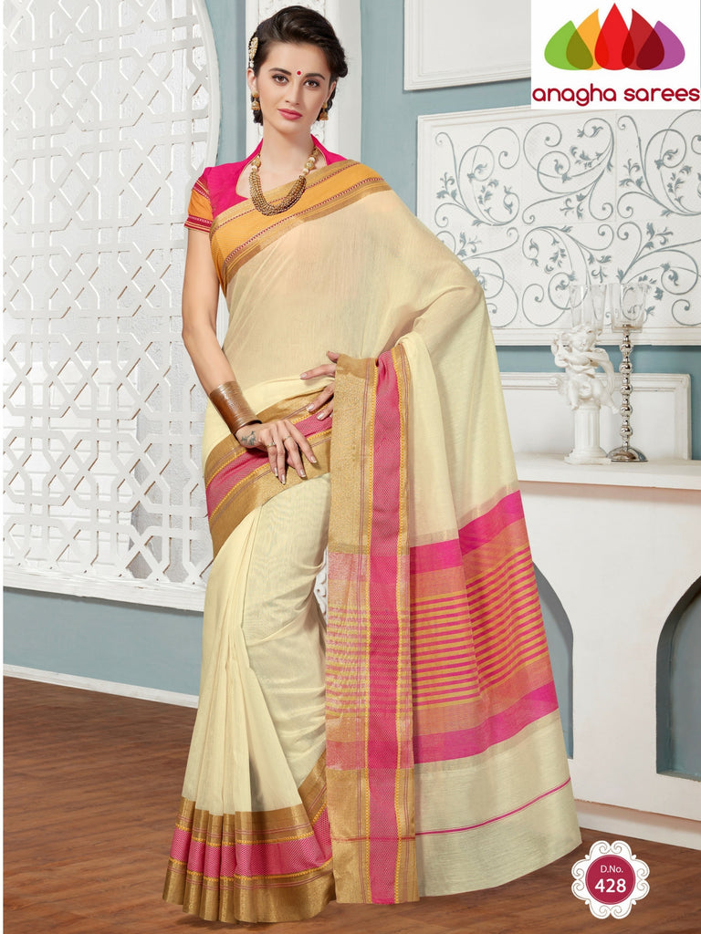 Anagha Sarees Rich Cotton Saree Rich Cotton Saree - Off White/Pink ANA_276