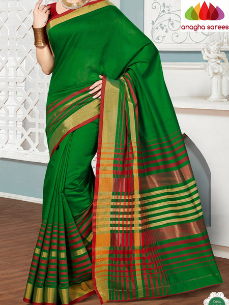 Anagha Sarees Rich Cotton Saree Rich Cotton Saree - Parrot Green  ANA_283