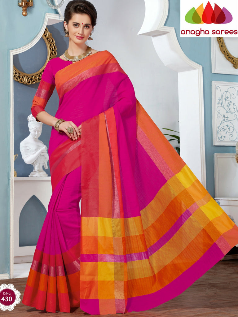 Rich Cotton Saree - Pink ANA_273 Anagha Sarees