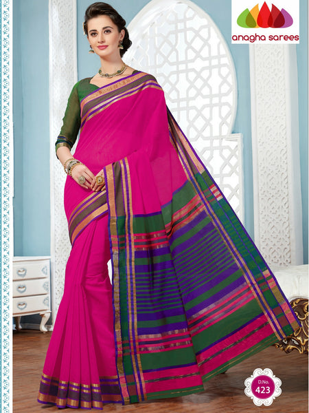 Anagha Sarees Rich Cotton Saree Rich Cotton Saree - Pink  ANA_284