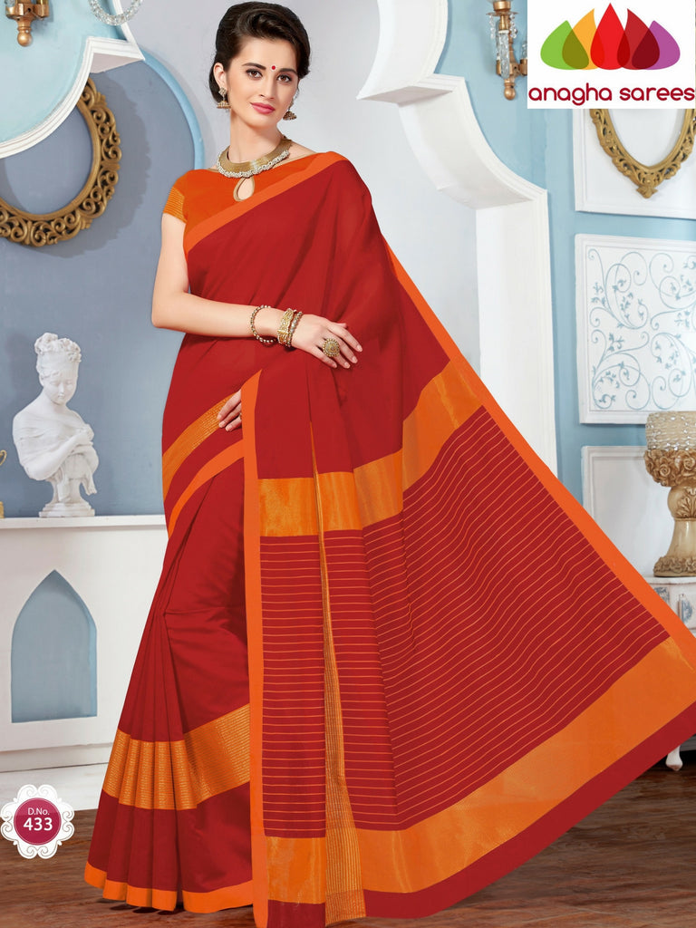 Rich Cotton Saree - Red ANA_272 Anagha Sarees
