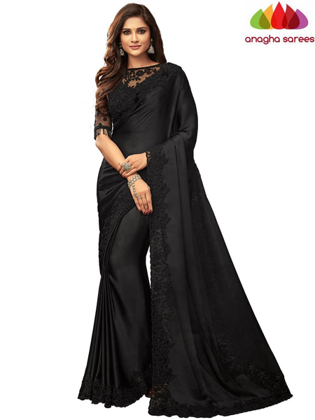 Anagha Sarees Satin silk Length=6.2 metres  Width=46 inches / Stone Grey Designer Satin Silk Saree - Black : ANA_I47