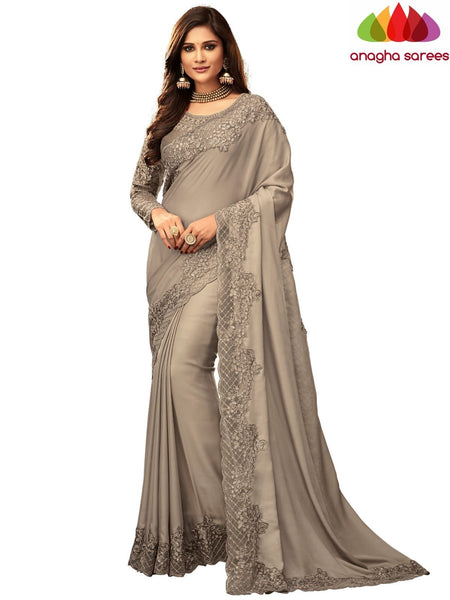 Anagha Sarees Satin silk Length=6.2 metres  Width=46 inches / Stone Grey Designer Satin Silk Saree - Stone Grey : ANA_I46