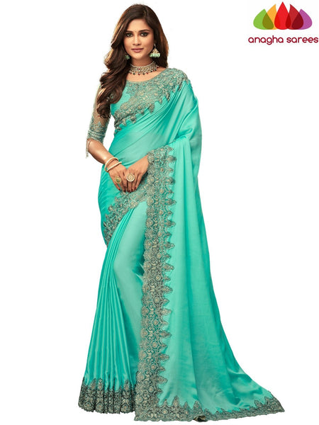 Anagha Sarees Satin silk Length=6.2 metres  Width=46 inches / Turquoise Green Designer Satin Silk Saree - Turquoise Green : ANA_I48