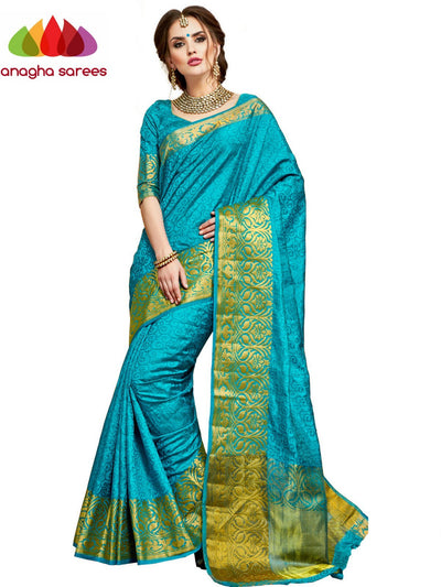 Designer Woven Semi Silk Saree - Light Blue : ANA_D46 - Anagha Sarees