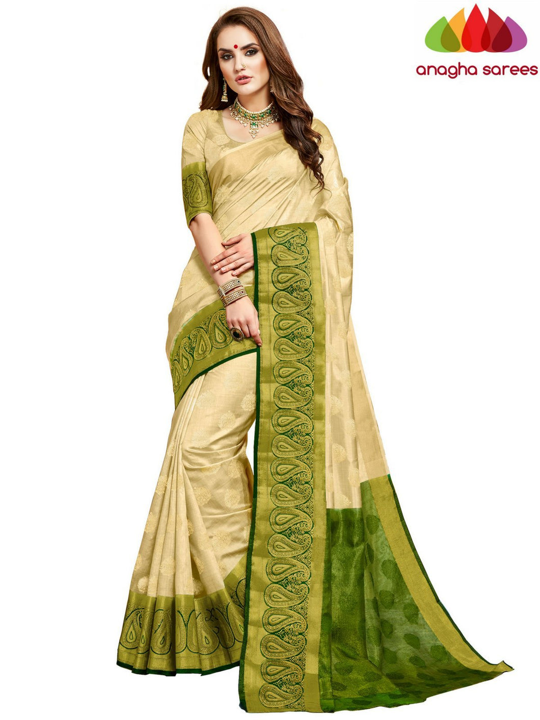 Anagha Sarees Semi silk Designer Woven Semi Silk Saree - Off White : ANA_D44