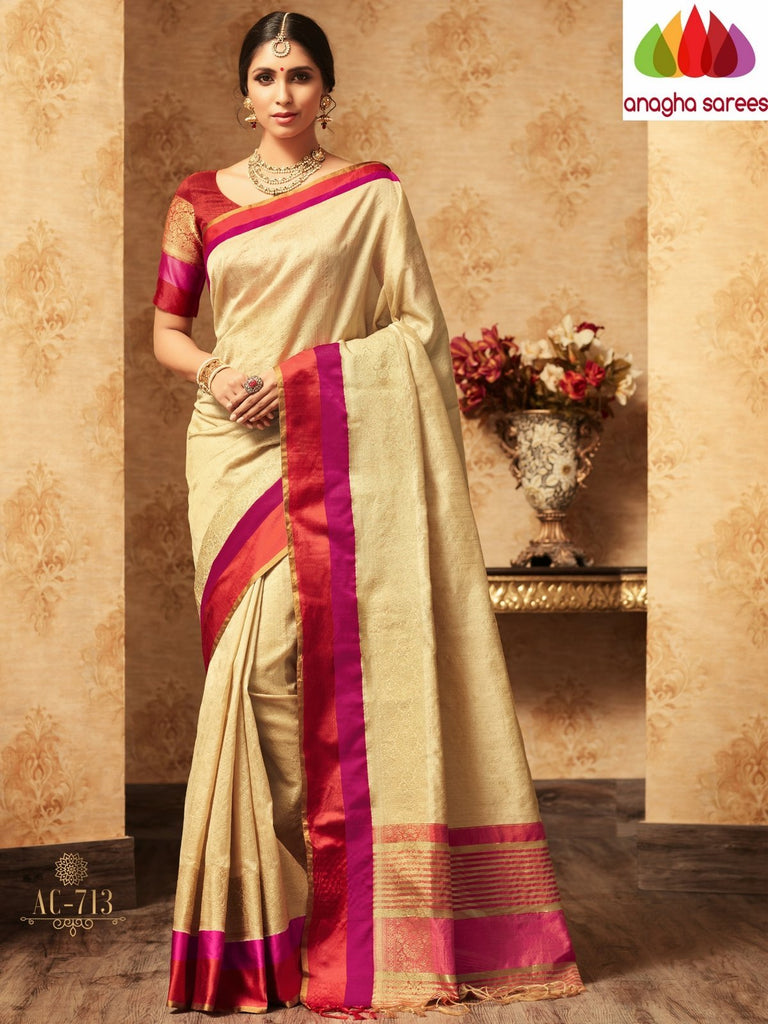 Trendy Fashion Silk Saree - Beige : ANA_A30 Anagha Sarees