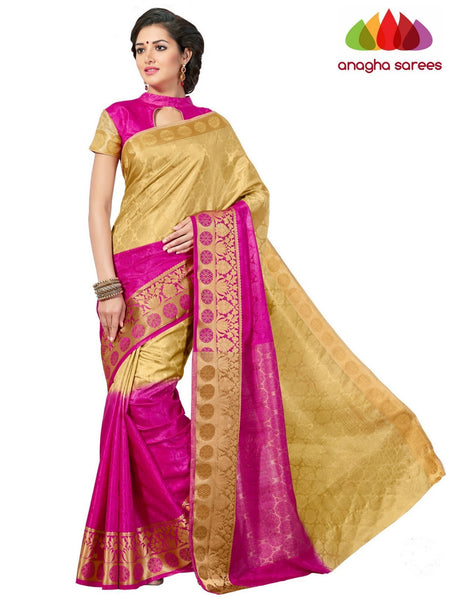 Trendy Fashion Silk Saree - Beige/Pink  ANA_643