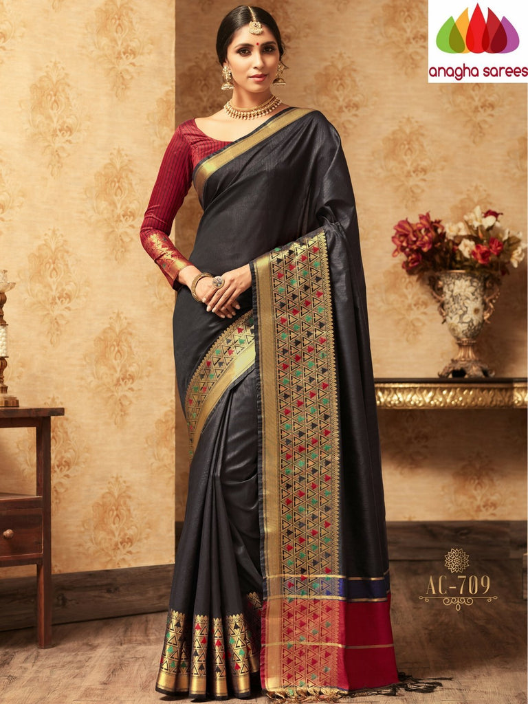 Trendy Fashion Silk Saree - Black : ANA_A31 Anagha Sarees