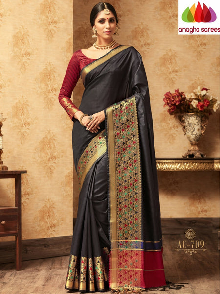 Trendy Fashion Silk Saree - Black : ANA_A31