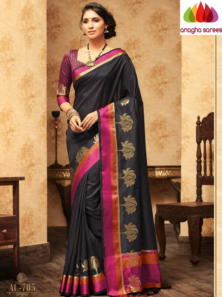Trendy Fashion Silk Saree - Black : ANA_A32 Anagha Sarees